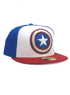 0bed3ea9 New Era Captain America 59fifty Custom Fitted Hat Size 7 1/4 Red White Blue