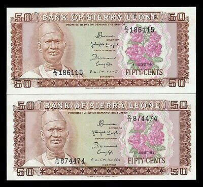 Sierra Leone Africa 50 Cents 1984 P. 4 - 2 UNC Notes