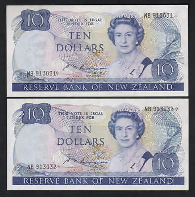 NEW ZEALAND P-172aS. (1985-89) $10 Russell - Star Note.. Prefix NB - CONSEC Pair