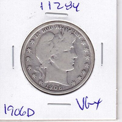 Kappyswholesale  Id11284 1906D  Barber Half Dollar Vg  Very Good Plus