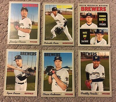 2019 TOPPS Heritage MILWAUKEE BREWERS Base Team Set (14 cards)