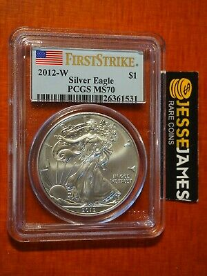2012 W Burnished Silver Eagle Pcgs Ms70 Flag First Strike Label Better Date