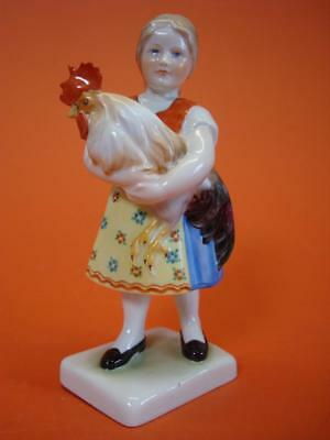 HEREND Porcelain Hand Painted Girl Figurine 7 1/2'' Tall