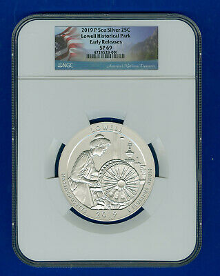 """2019-P-ATB-5oz-SILVER-25C-LOWELL-MA-NGC-SP 69-ER-""""OGP+COA+COIN-HOLDER"""