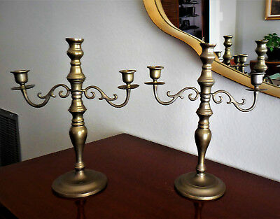 Vintage Colonial Style Brass Two Arm~Three Candle Candelabras-Mid Century!
