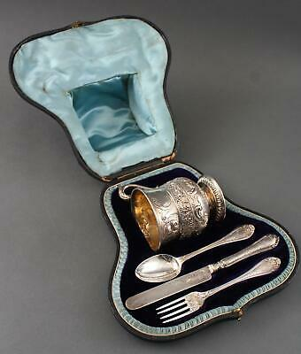 19thC Antique English Sterling Silver Cased Child's Set, Cup Fork Spoon & Knife