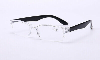 fcb45a53651 MENS PLASTIC READING Glasses Readers Clear Frame Fashion 1.0 1.5 2.0 ...