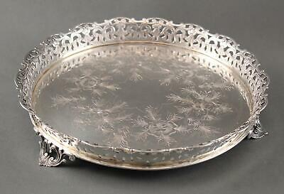 Antique Portuguese .916 Sterling Silver Engraved Round Serving Gallery Tray