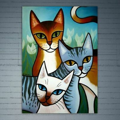 Cat DIY 5D Full Round Diamond Painting Embroidery Cross Stitch Home Office Decor