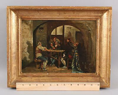 19thC Antique Genre Interior Oil Painting, Men Drinking Gambling Playing Cards,