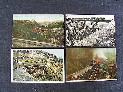 lot of 4 vintage railroad train trestle postcards - Dollarhide, Johnson's Canyon