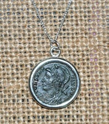 Constantinopolis Constantine The Great Authentic Coin Sterling Silver Necklace