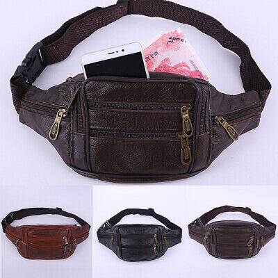 AU Men Leather Bum Waist Bag Retro Pouch Wallet Travel Pack Men's Money Belt Bag