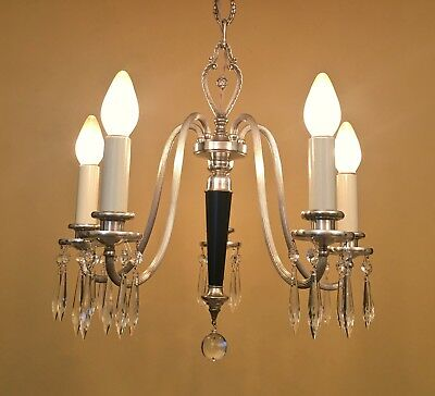 Vintage 1920s Silver Crystal Chandelier fully restored