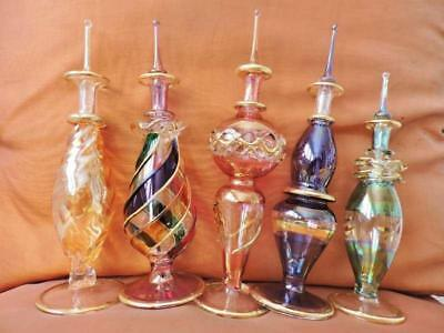 "5 X-LARGE Pcs Set Egyptian Mouth Hand Blown Perfume Bottles Pyrex Glass..7"" Inch"