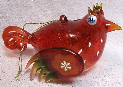 Hand Blown Art Glass Red Bird Christmas Tree Ornament Painted ~ Stunnning Vintag