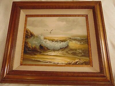 OCEAN SEASIDE PAINTING SIGNED BY ARTIST OIL ON CANVAS SEAGULLS WAVES 16x20