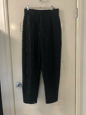 VINTAGE Four Now Black Lace High Waisted Pants Size 8-10