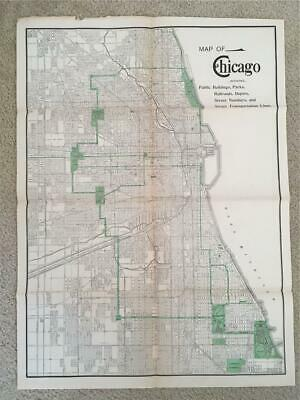 Vintage Old Map of Chicago Antique Rand McNally large size Street Parks Harbor