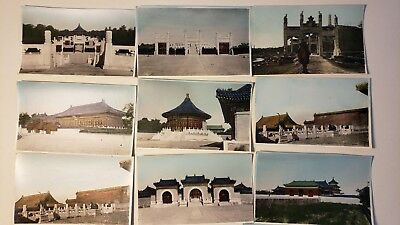 1920's HAND COLORED CHINA CHINESE LANDMARK PHOTOS X 15 FORBIDDEN CITY TEMPLE