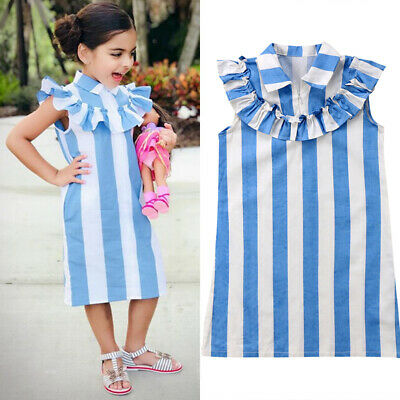2019 TODDLER KIDS Baby Girls Sleeveless Casual Dress Clothes Party Pageant  Dress