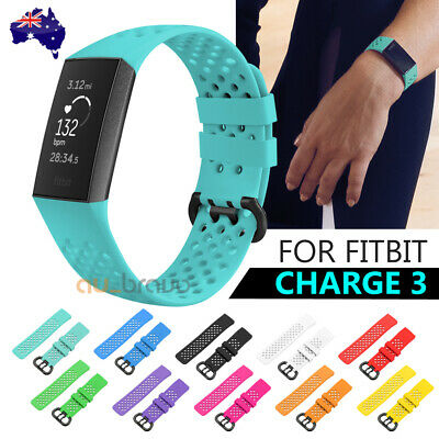For Fitbit Charge 3 Bands Soft Silicone Adjustable Replacement Sport Strap Band
