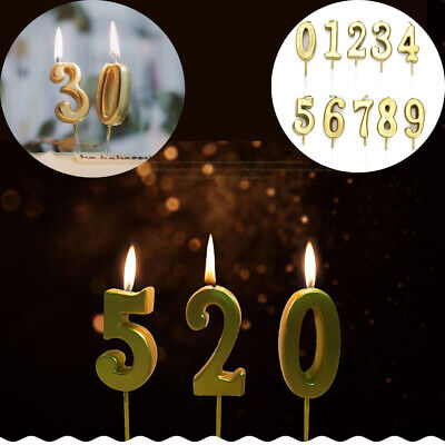0 9 Numbers Gold Candles Happy Birthday Cake Topper Wedding Party Decoration New