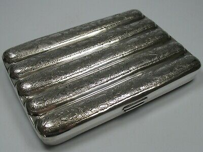 Handmade Top Cigar Case Made of Solid Silver by Ca 1900 for 5 Cigars