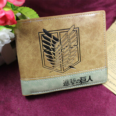 Anime Attack on Titan Cosplay PU Leather Wallet Bifold Purse Cash Card Holder