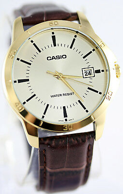 Casio MTPV004GL-9A Mens Analog Watch Leather Band Brown White Date Stamp New