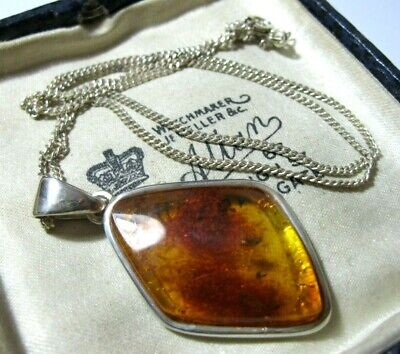 Vintage Jewellery Sterling Silver Real Honey Baltic Amber Large Pendant Necklace