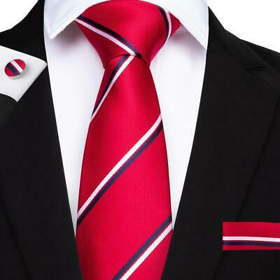 Christmas Red Men's Tie Blue White Striped Tie Sets Hanky Cufflinks New Arrival