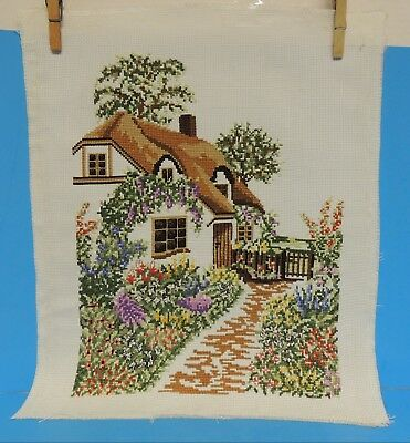 Completed Counted Cross Stitch House Cottage Flowers Path Unframed