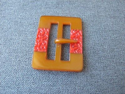 Antique Czech flapper red inlaid applejuice galalith belt buckle unused #4