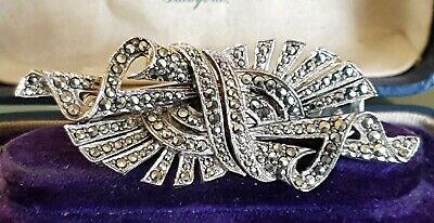 Vintage Jewellery Silver Marcasite Art Deco Duet Duette Dress Clips Brooch Pin