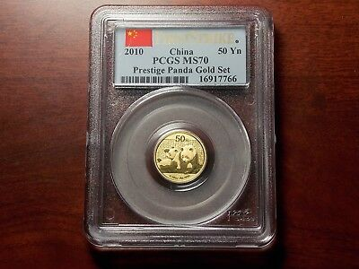 2010 China 1/10 oz Gold Panda 50 yuan coin PCGS MS-70 FIRST STRIKE