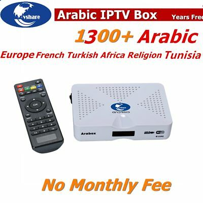 Arabox Best Arabic Europe HD IPTV Box Android 1300+ Channels No Monthly Fee New