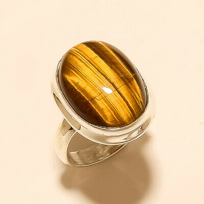 11406c718 Natural Brazilian Tiger Eye Ring 925 Sterling Silver Handmade Easter Jewelry  New