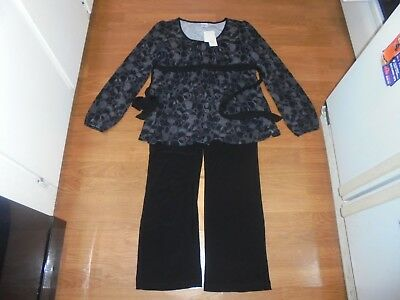 NWT Motherhood Maternity Black pants with matching shirt outfit set size L