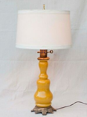 """Vintage MCM Brass Metal Mustard Yellow Cased Glass Table Lamp 29"""" TALL"""