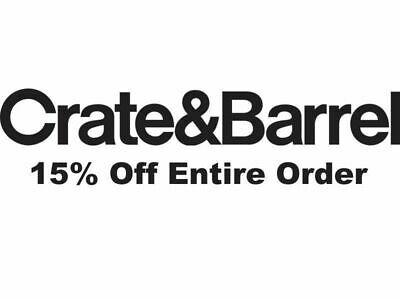 Coupon at Crate and Barrel 15% off entire purchase - sent fast - exp. 04-16-2019