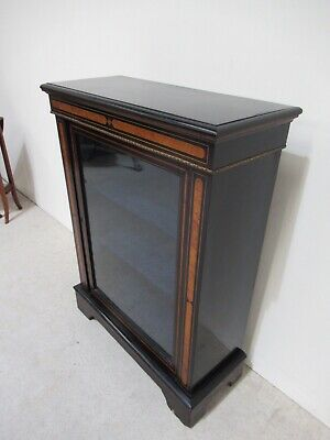 Antique Victorian Pier Cabinet Inlaid With Walnut Gilt Ormolu Display Cabinet