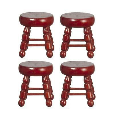 Dolls House 4 Small Mahogany Stools Miniature 1:12 Scale Furniture