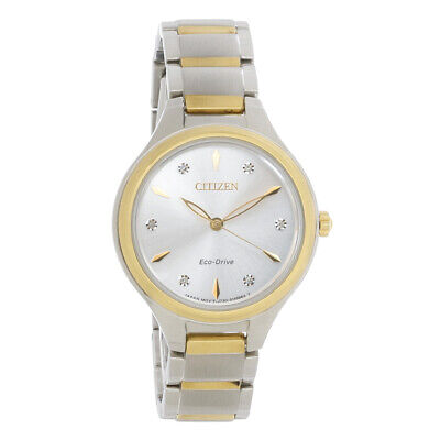 Citizen Eco-Drive Ladies Corso Stainless Steel Diamond Watch FE2104-50A