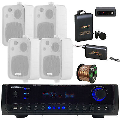 "1500 Watt Receiver Amplifier, 4"" Box Speakers, Wireless Microphone System, Wire"