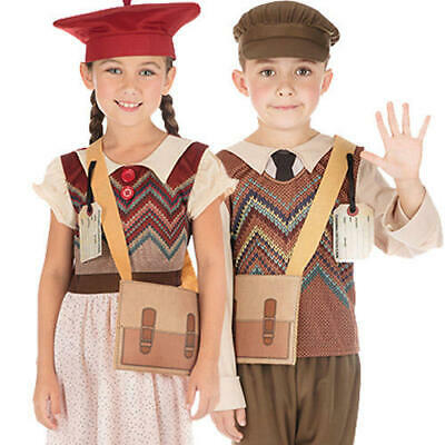 Wartime Kids Fancy Dress 1940s WW2 School Boys Girls World Book Day Costumes
