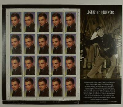Us Scott 3329 Pane Of 20 James Cagney 33 Cents Face Mnh