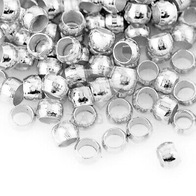 20g(1200pcs) Crimp End Beads Round Silver Jewelry Findings 2x2mm JACP0002