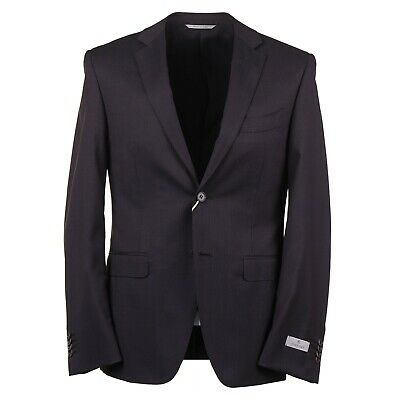 NWT $2195 CANALI 1934 Burgundy-Blue Micro Pattern Wool Suit Slim 40 R (Eu 50)