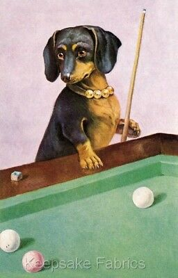 Dachshund Plays Pool Fabric Quilt Block Multi Size FrEE ShiP WoRlD WiDE